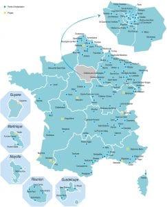 Carte de France des E2C avec projets en cours