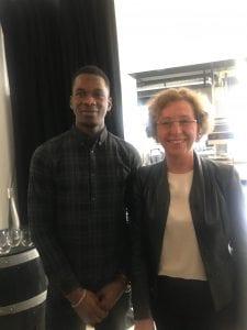 Aliou Barry, ancien stagiaire de l'E2C Reims avec Muriel Penicaud