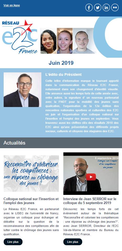 Newsletter juin 2019 - Réseau E2C France