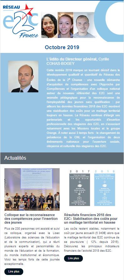 Newsletter du Réseau E2C France - Octobre 2019