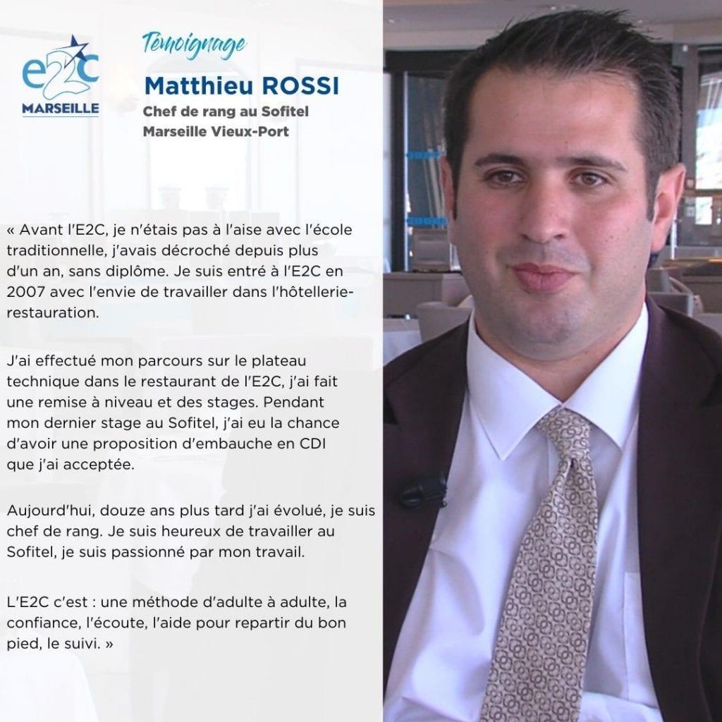 Matthieu, chef de rang et ancien stagiaire E2C Marseille