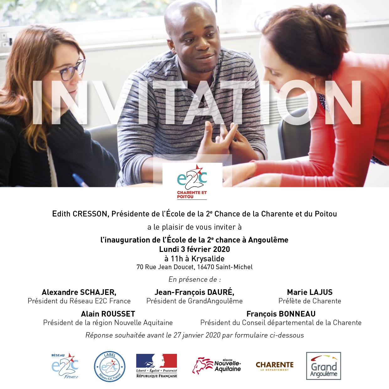 carton d'invitation E2C Charente et Poitou