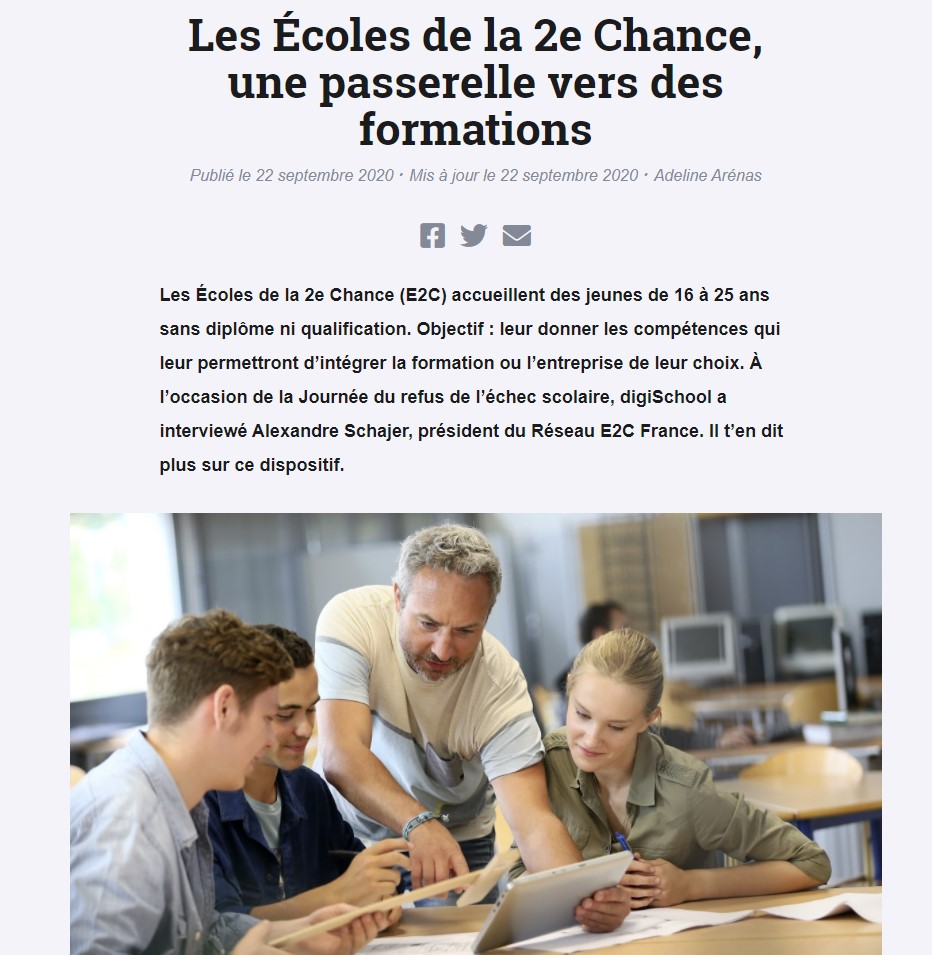 Reportage Digischool sur les E2C