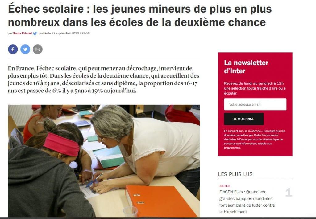 Reportage France inter sur les E2C 23092020